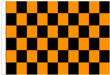 Orange And Black Check 5' x 3' Larger Sleeved Flag